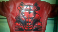 4X Avirex Bright Red Leather Jacket Very rare YOU HAVE TO HAVE THIS COAT NOW