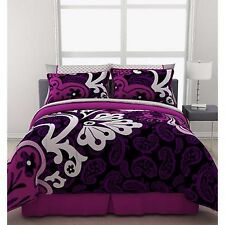 Girls Bedding Comforter Set Twin Size Reversible Duvet Sheets Purple Bed In Bag