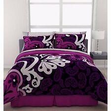 Girls Bedding Comforter Set Reversible Queen Size Duvet Sheets Purple Bed In Bag