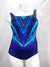 Longitude Plus Space Odyssey Highneck Tummy Control One Piece Swimsuit 18W Blue