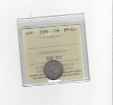 **1900**, ICCS  Graded Canadian,  10  Cent, **EF-45**