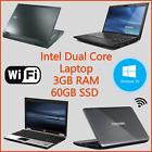 "Dell Hp Toshiba Windows 10 14"" Laptop Intel Dual Core 60gb Ssd 3gb Ram Wireless"