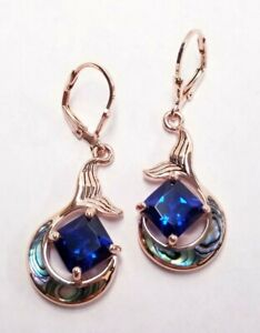 JTV Lab Created Spinel & Abalone Shell 18k Rose Gold Over Silver Earrings 4.37ct