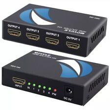 HDMI Splitter 1 in 4 Out 1x4 Ports v1.4 Powered 4K/2K Full Ultra HD 1080p