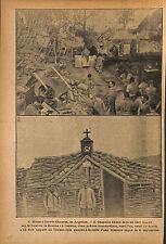 Messe Chapelle à Courte-Chausse Front de la Somme Prêtre WWI 1916 ILLUSTRATION