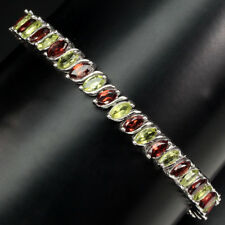 Precious Marquise 6x3mm Peridot Mozambique Garnet 925 Sterling Silver Bracelet