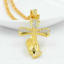 Jewelry Rhinestone Jesus Hand Cross Payer Pendant 18 K Gold Christian Necklace