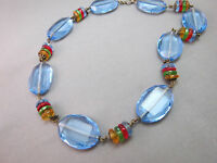 "Art Deco Necklace Blue Faceted Glass Crystal Multi Color Bead 16.5"" Antique"