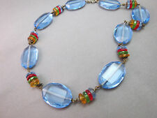 "VTG Art Deco Antique Necklace Faceted Glass Crystal Blue Multi Color Bead 16.5"""