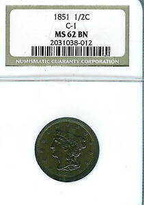 1851 Braided Hair Half Cent : NGC MS62BN  C-1 Variety