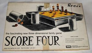 Vintage 1968 Score Four 3D Board Game No. 400 Nearly Complete! No Instructions
