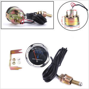 52mm/2 inch Car Metal Body 38-104℃ Mechanical Water Temperature Guage 12V Black