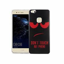 Handy Hülle Motiv Case Schutz Cover für Huawei P10 Lite Dont Touch Rot + 9H Glas