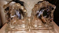 """Vintage Federal Clear Glass Horse Head Book Ends Pair Hollow Heavy 5 1/2"""" Tall"""