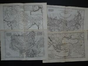 1780 BONNE  Atlas 4 x maps Asia India Russia Middle East - Asie Russie Turquie