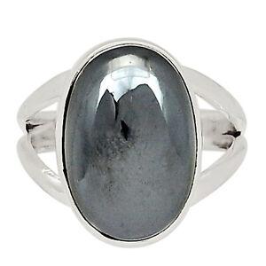 Hematite 925 Sterling Silver Pendant Jewelry Ring s.6.5 ALLR-403