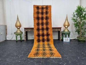 """Moroccan Handmade Vintage Rug 2'3""""x8'2"""" Berber Geometric Orange Brown Wool Rug"""