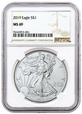 2019 1oz Silver American Eagle NGC MS69 Brown Label