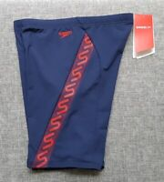 SPEEDO MENS Endurance+ Monogram Waterboy Size 14 Navy Red Brand NEW tag