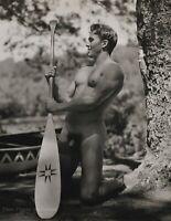 1990 Vintage BRUCE WEBER Nude Male JOHN Canoe Paddle Adirondack Photo Art 12X16