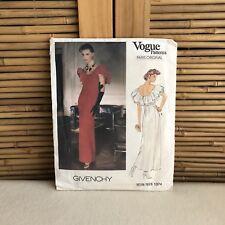 RARE 80s VOGUE Givenchy 1374 Peasant RUFFLE Maxi DRESS Sewing PATTERN 8 ~ UNCUT