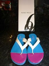 Ladies Nine West Flip Flops,Blue & Pink With With White Toe Posts. Size Euro 36