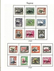 GUYANA (11-7) 1967 RANGE  LOCAL OVER-PRINTS PART SET OF 17 TO $5.00 VERY MM/ MH