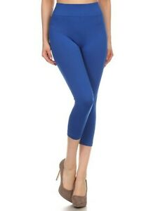 Women's Solid Color Seamless Wide Waistband Capri Leggings