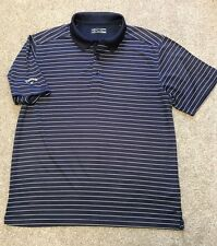 CALLOWAY GOLF NAVY WHITE  STRIPE WICKING  POLO SHIRT L LARGE COST £65