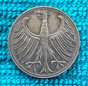 GERMANY 1951 F 5 DEUTSCHE MARK LARGE EAGLE SILVER WORLD COIN