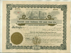 1905 DETROIT & INDIANA OIL & GAS COMPANY WASHINGTON DC STOCK CERTIFICATE