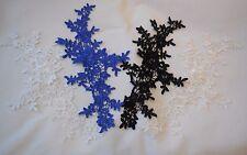 blue or black or white or ivory Bridal floral lace applique / dress lace motif
