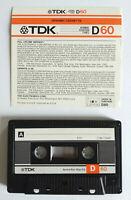 MC Musicassetta TDK D 60 d60 vintage compact cassette audiotape USATA no agfa