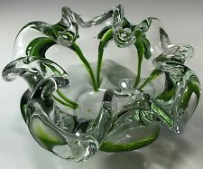 GORGEOUS MURANO GLASS  FREE FORM BOWL / ASH TRAY | VINTAGE GREEN