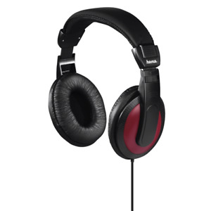 """Hama """"Basic4Music"""" Over Ear Headphones With extra-long 2m cable - Black/Red"""