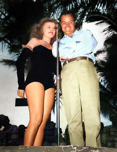 """1944 Patty Thomas & Bob Hope, Show for Servicemen Old Photo 8.5"""" x 11"""" Colorized"""