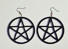Ohrringe gothic schwarz pentagram acryl  6cm groß A017