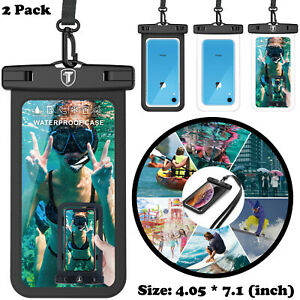 2 Pack Universal Large waterproof Cell Phone Pouch Strap Case Dry Bag Cover Lot