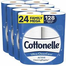 Cottonelle Ultra CleanCare Soft Toilet Paper 24 Family Mega Rolls+ 128 Rolls