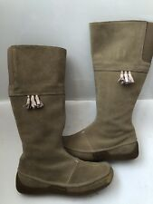 Ladies CLARKS Size 4.5 Taupe Suede Knee High Boots Wide Feet Calf Flat Tassel