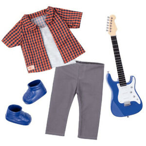 Our Generation Outfit for 46cm Dolls Plaid to Rock with Toy Electric Guitar 3+