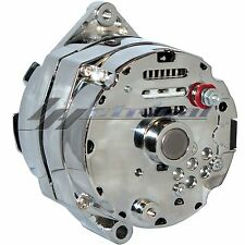 CHROME HIGH OUTPUT ALTERNATOR FOR CHEVY HOLDEN SBS BBC 1 ONE WIRE HOOKUP 200 AMP