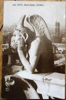 Notre Dame Cathedral Gargoyle - Paris, France 1920s Realphoto Postcard