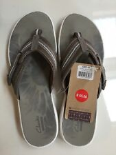 Clarks Collection Brinkley Jojo Open Toe Pewter Flip Flop Sandal Size 10 NWOB