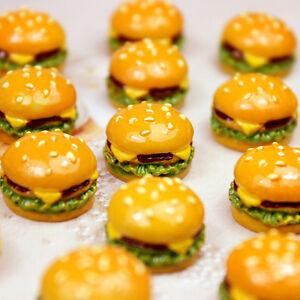 10Pcs Mini Food Dollhouse Hamburger Miniatures Double Cheeseburger DIY Decor