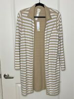 Chico's Size 1 Beige White Stripe Reversible Cardigan Sweater Long Sleeve NWT