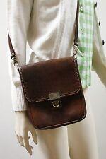 Tasche Handtasche Umhängetasche Leder Braun Hippy hand bag 70er True VINTAGE 70s