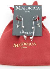 $80 Majorica Sterling Silver Imitation Pearl Linear Drop Earrings