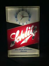 Vintage 1959 Schlitz Beer Brewing Company Lighted Sign With Clock Milwaukee
