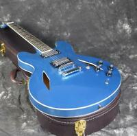 Free Shipping cost Dave Electric Guitar Semi Holow body  Top Quality Metal Blue